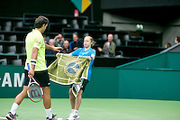 10-02-14, Netherlands,Rotterdam,Ahoy, ABNAMROWTT,, ,  Jesse Huta Galung(NED) receiving a towel by Suzan Lamens<br /> Photo:Tennisimages/Henk Koster