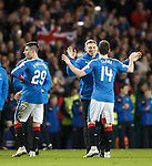 Injured striker Martyn Waghorn on the pitch to celebrate