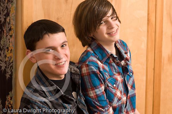 Portrait of teenage brothers ages 14 and 18 Caucasian horizontal