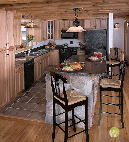 Interior of log Home.Lock n Log