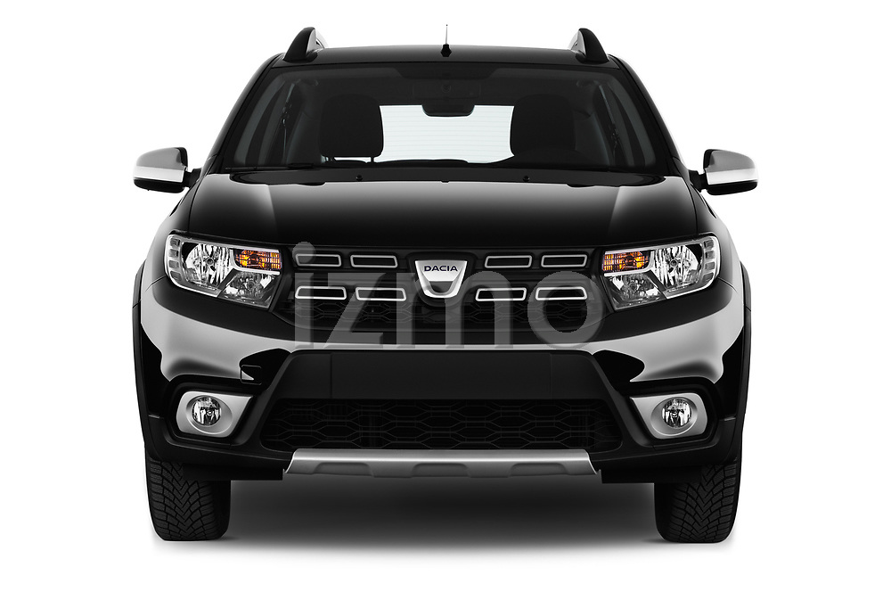 Car photography straight front view of a 2017 Dacia Sandero Stepway 5 Door Hatchback Front View