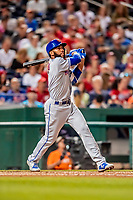 21 September 2018: New York Mets outfielder Amed Rosario in action against the Washington Nationals at Nationals Park in Washington, DC. The Mets defeated the Nationals 4-2 in the second game of their 4-game series. Mandatory Credit: Ed Wolfstein Photo *** RAW (NEF) Image File Available ***