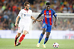 FC Barcelona's Samuel Umtiti (r) and Sevilla FC's Franco Vazquez during Supercup of Spain 2nd match.August 17,2016. (ALTERPHOTOS/Acero)