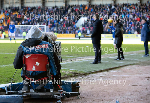 St Johnstone v Rangers…..23.02.20   McDiarmid Park   SPFL<br />A Sky Sports cameraman filming the game<br />Picture by Graeme Hart.<br />Copyright Perthshire Picture Agency<br />Tel: 01738 623350  Mobile: 07990 594431