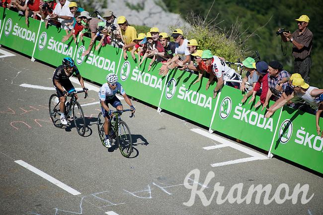 Richie Porte (AUS/SKY) tails Nairo Quintana (COL/Movistar) up the Col de Soudet (HC/1610m/15.3km/7.4%) as they will dispute 2nd place 300m ahead.<br /> <br /> stage 10: Tarbes - La Pierre-Saint-Martin (167km)<br /> 2015 Tour de France