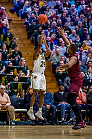 8 December 2018: University of Vermont Guard Ben Shungu, a Redshirt Sophomore from Burlington, VT, takes a shot in the first half against the Harvard University Crimson at Patrick Gymnasium in Burlington, Vermont. The America East Catamounts overcame a 10-point 2nd half deficit, to defeat the Ivy League Crimson 71-65 in NCAA Division I inter-league play. Mandatory Credit: Ed Wolfstein Photo *** RAW (NEF) Image File Available ***