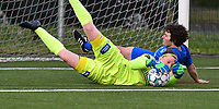goalkeeper Ianthe Meerschaert (31) of Zulte Waregem and Lotte Van Den Steen (15) of KRC Genk pictured during a female soccer game between  Racing Genk Ladies and SV Zulte-Waregem on the 7 th matchday of play off 2 in the 2020 - 2021 season of Belgian Scooore Womens Super League , friday 14 th of May 2021  in Genk , Belgium . PHOTO SPORTPIX.BE   SPP   JILL DELSAUX