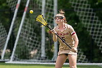 NEWTON, MA - MAY 16: Courtney Weeks #6 of Boston College receives a pass during NCAA Division I Women's Lacrosse Tournament second round game between Temple University and Boston College at Newton Campus Lacrosse Field on May 16, 2021 in Newton, Massachusetts.