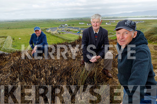 Concerned residents of Banna at the site of the 4th fire of the Banna Beach sand dune in as many weeks.<br /> Front right: Pat Lawlor<br /> Back l to r: Donal Dowling and George O'Flaherty