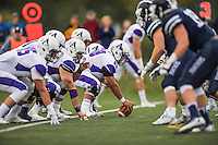 8 October 2016: Amherst College Purple & White Offensive Lineman Austin Park, a Senior from Pittsburgh, PA, prepares to snap as Center during a game against the Middlebury College Panthers at Alumni Stadium in Middlebury, Vermont. The Panthers edged out the Purple & While 27-26. Mandatory Credit: Ed Wolfstein Photo *** RAW (NEF) Image File Available ***