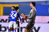 Emil Audero of UC Sampdoria celebrates at the end of the Serie A football match between UC Sampdoria and FC Internazionale at stadio Marassi in Genova (Italy), January 6th, 2021. <br /> Photo Daniele Buffa/Image Sport / Insidefoto