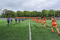 players entering the field pictured before a female soccer game between RSC Anderlecht Dames and AA Gent Ladies on the fifth matchday of play off 1 of the 2020 - 2021 season of Belgian Womens Super League , saturday 8 th of May 2021  in Brussels , Belgium . PHOTO SPORTPIX.BE | SPP | STIJN AUDOOREN