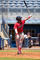 FCL Twins catcher LaRon Smith (25) hits a home run during a game against the FCL Rays on July 20, 2021 at Charlotte Sports Park in Port Charlotte, Florida.  (Mike Janes/Four Seam Images)