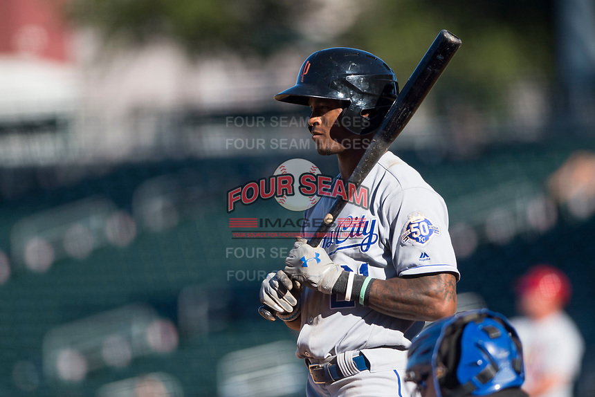 Surprise Saguaros left fielder Nick Heath (21), of the Kansas City Royals organization, at bat during an Arizona Fall League game against the Mesa Solar Sox at Sloan Park on November 1, 2018 in Mesa, Arizona. Surprise defeated Mesa 5-4 . (Zachary Lucy/Four Seam Images)