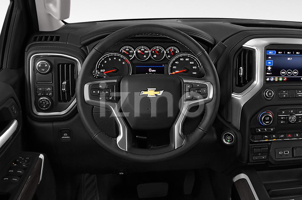 Car pictures of steering wheel view of a 2019 Chevrolet Silverado 1500 LTZ 4 Door Pick Up
