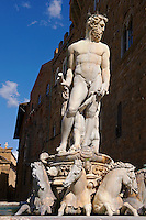 The Fountain of Neptune by Bartolomeo Ammannati (1575),  Piazza della Signoria in Florence, Italy,