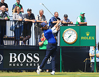 13th July 2021; The Royal St. George's Golf Club, Sandwich, Kent, England; The 149th Open Golf Championship, practice day; Tommy Fleetwood (ENG) hits his tee shot at the par three third hole