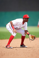 Auburn Doubledays third baseman Kelvin Gutierrez (36) during a game against the Vermont Lake Monsters on July 13, 2016 at Falcon Park in Auburn, New York.  Auburn defeated Vermont 8-4.  (Mike Janes/Four Seam Images)