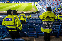 12th March 2020, Ibrox Stadiu, Glasgow, Scotland; Europa League football, Glasgow Rangers versus Bayer Leverkusen;  Police and stewards inspect the away stands before the game