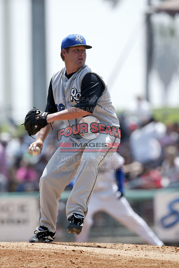 May 30 2007: Steve Marek of the Rancho Cucamonga Quakes pitches against the Inland Empire 66'ers at Arrowhead Credit Union Park in San Bernardino,CA.  Photo by Larry Goren/Four Seam Images