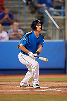 Hudson Valley Renegades catcher Chris Betts (26) follows through on a swing during a game against the Tri-City ValleyCats on August 24, 2018 at Dutchess Stadium in Wappingers Falls, New York.  Hudson Valley defeated Tri-City 4-0.  (Mike Janes/Four Seam Images)
