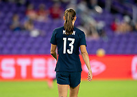 ORLANDO, FL - FEBRUARY 24: Alex Morgan #13 of the USWNT runs back to half during a game between Argentina and USWNT at Exploria Stadium on February 24, 2021 in Orlando, Florida.