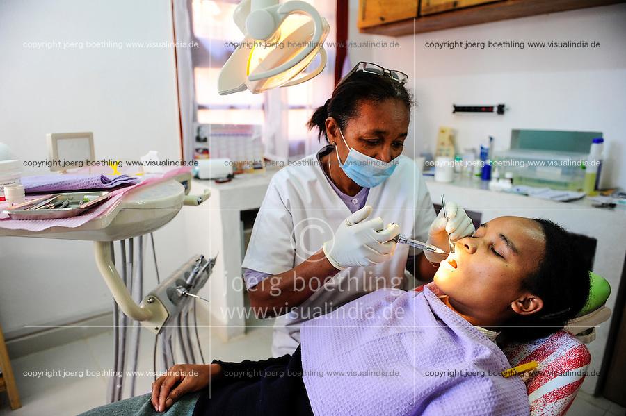 MADAGASCAR Antananarivo , dentist clinic, patient receives Anesthesia syringe