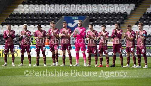 St Mirren v St Johnstone….27.04.19      St Mirren Park        SPFL<br />The St Johnstone players during a minutes applause Billy McNeil<br />Picture by Graeme Hart. <br />Copyright Perthshire Picture Agency<br />Tel: 01738 623350  Mobile: 07990 594431