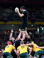 7th November 2020, Brisbane, Australia; Tri Nations International rugby union, Australia versus New Zealand;  Samuel Whitelock of the All Blacks catches a line out
