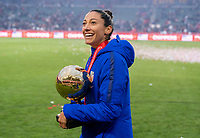 CARSON, CA - FEBRUARY 9: Christen Press #20 of the United States looks into the crowd for her father during a game between Canada and USWNT at Dignity Health Sports Park on February 9, 2020 in Carson, California.