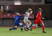 goalkeeper Zelie Lambert (1) of Woluwe, Tess Lameir (14) of OHL in action during a female soccer game between FC Femina White Star Woluwe and Oud Heverlee Leuven on the fourth matchday in the 2021 - 2022 season of Belgian Scooore Womens Super League , Friday 10 th of September 2021  in Woluwe , Belgium . PHOTO SPORTPIX | SEVIL OKTEM