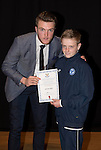 St Johnstone FC Academy Awards Night...06.04.15  Perth Concert Hall<br /> Zander Clark presents a certificate to Jamie Watt<br /> Picture by Graeme Hart.<br /> Copyright Perthshire Picture Agency<br /> Tel: 01738 623350  Mobile: 07990 594431