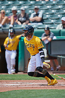 Jo Adell (7) of the Salt Lake Bees at bat against the Las Vegas Aviators at Smith's Ballpark on June 27, 2021 in Salt Lake City, Utah. The Aviators defeated the Bees 5-3. (Stephen Smith/Four Seam Images)