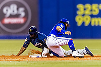 25 March 2019: Milwaukee Brewers outfielder Lorenzo Cain steals second in the 3rd inning of an exhibition game against the Toronto Blue Jays at Olympic Stadium in Montreal, Quebec, Canada. The Brewers defeated the Blue Jays 10-5 in the first of two MLB pre-season games in the former home of the Montreal Expos. Mandatory Credit: Ed Wolfstein Photo *** RAW (NEF) Image File Available ***