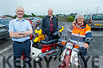 Michael Curran (Blennerville), Neil Breen (Ballymac) and Donal Griffin (Keel) at the West Kerry Honda 50 and Classic Bike Run in aid of the Kerry Hospice in Blennerville on Sunday