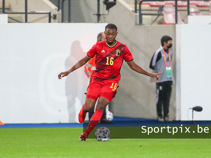 Marco Kana (16) of Belgium with the ball during a soccer game between the national teams Under21 Youth teams of Belgium and Kazakhstan on the third matday in group I for the qualification for the Under 21 EURO 2023 , on friday 8 th of october 2021  in Leuven , Belgium . PHOTO SPORTPIX   SEVIL OKTEM