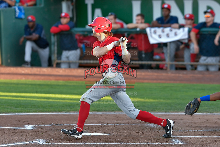 Keith Grieshaber (4) of the Orem Owlz follows through on his swing against the Ogden Raptors during the Pioneer League game at Lindquist Field on September 9, 2016 in Ogden, Utah. This was Game 1 of the Southern Division playoff. Orem defeated Ogden 6-5. (Stephen Smith/Four Seam Images)