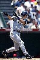Robin Ventura of the New York Yankees bats during a 2002 MLB season game against the Los Angeles Angels at Angel Stadium, in Anaheim, California. (Larry Goren/Four Seam Images)