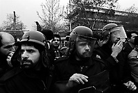 Teheran, Iran, April 1, 2007.Several students organizations, linked to the hard line factions of the Iranian regime demonstrate against Great Britain and the USA in front of the British embassy in central Teheran..An impressive deployment of police and security forces managed to keep the several hundred protesters from reaching the embassy perimeter; however the protesters managed to throw stones, firecrakers and smoke bombs inside the fence.