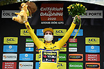 Primoz Roglic (SLO) Team Jumbo-Visma wins solo Stage 2 and takes over the race leaders Yellow Jersey of Criterium du Dauphine 2020, running 135km from Vienne to Col de Porte, France. 13th August 2020.<br /> Picture: ASO/Alex Broadway | Cyclefile<br /> All photos usage must carry mandatory copyright credit (© Cyclefile | ASO/Alex Broadway)