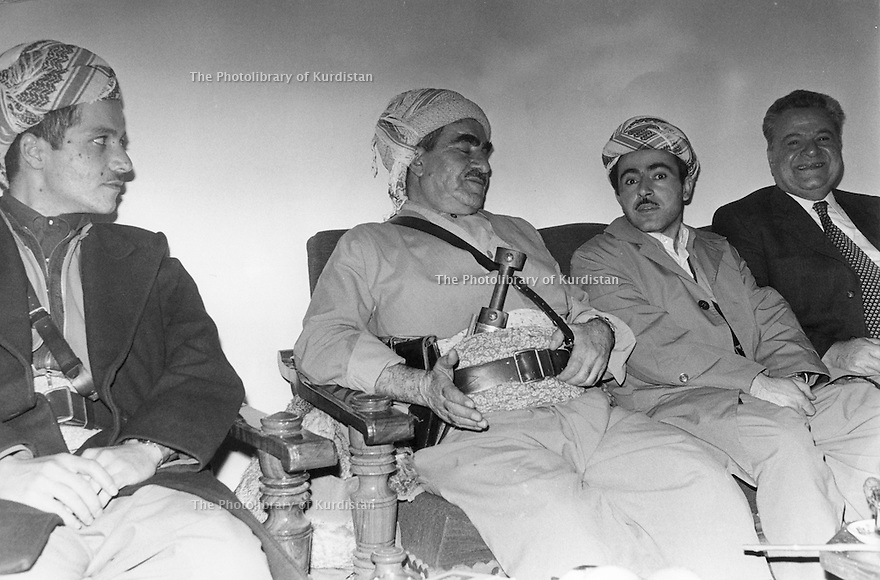 Iraq 1974 <br /> The resumption of hostilities, Mustafa Barzani with his sons Masoud  and Idris Barzani and Fuad Aref   <br /> Irak 1974 <br /> La reprise de la lutte armée, Mustafa Barzani entoure de ses 2 fils, Masoud et Idris Barzani et Fuad Aref