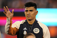 EAST RUTHERFORD, NJ - SEPTEMBER 7: Jesus Gallardo #23 of Mexico during the presentation of the team during a game between Mexico and USMNT at MetLife Stadium on September 6, 2019 in East Rutherford, New Jersey.
