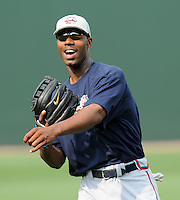 May 8, 2008: Outfielder Jason Heyward (24) of the Rome Braves, Class A affiliate of the Atlanta Braves, prior to a game against the Greenville Drive at Fluor Field at the West End in Greenville, S.C.   Photo by:  Tom Priddy/Four Seam Images