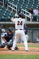 Gavin Sheets (24) of the Birmingham Barons at bat against the Pensacola Blue Wahoos at Regions Field on July 7, 2019 in Birmingham, Alabama. The Barons defeated the Blue Wahoos 6-5 in 10 innings. (Brian Westerholt/Four Seam Images)