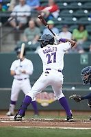 Micker Adolfo (27) of the Winston-Salem Dash at bat against the Buies Creek Astros at BB&T Ballpark on May 5, 2018 in Winston-Salem, North Carolina. The Dash defeated the Astros 6-2. (Brian Westerholt/Four Seam Images)