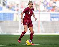 HARRISON, NJ - MARCH 08: Steph Houghton #5 of England dribbles during a game between England and Japan at Red Bull Arena on March 08, 2020 in Harrison, New Jersey.