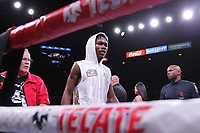 Boxers , Evan Holyfield, USA and Nick Winstead, USA, fight during their four round Super Welterweight bout at the MGM Grand Garden on November 2, 2019 in Las Vegas, Nevada.  Holyfield won a 1st round TKO over Winstead  Referee was Robert Hoyle. (Photo John Gurzinski/lasvegasphotography.com)