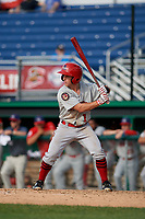 Auburn Doubledays Phil Caulfield (1) at bat during a NY-Penn League game against the Batavia Muckdogs on June 19, 2019 at Dwyer Stadium in Batavia, New York.  Batavia defeated Auburn 5-4 in eleven innings in the completion of a game originally started on June 15th that was postponed due to inclement weather.  (Mike Janes/Four Seam Images)