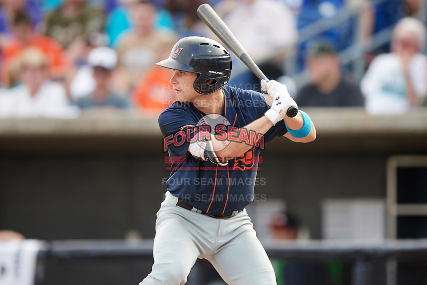 Bowing Green Hot Rods second baseman Brandon Lowe (5) at bat during a game against the Quad Cities River Bandits on July 24, 2016 at Modern Woodmen Park in Davenport, Iowa.  Quad Cities defeated Bowling Green 6-5.  (Mike Janes/Four Seam Images)