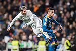 Sergio Ramos (l) of Real Madrid battles for the ball with Gustavo Daniel Cabral of RC Celta de Vigo during their Copa del Rey 2016-17 Quarter-final match between Real Madrid and Celta de Vigo at the Santiago Bernabéu Stadium on 18 January 2017 in Madrid, Spain. Photo by Diego Gonzalez Souto / Power Sport Images
